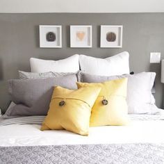 Nice neutral color make the space look cozy and peaceful, but accentuated with the elegance of yellow.Perfect.