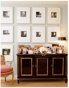 black and gold cabinet, uniform frames