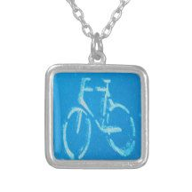 Blue White Bicycle Necklace Jewelry http://www.zazzle.com/blue_white_bicycle_jewelry-177150933820255029?rf=238290304201005220&tc=pifa #biking #tourdefrance #bike #cycling