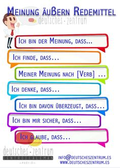 German vocabulary - Expressing opinions Source by Study German, Learn German, German Grammar, German Words, German Language Learning, Language Study, German Resources, Deutsch Language, Classroom Language