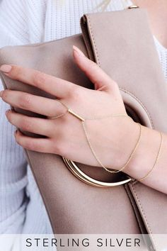 The Graceful Delicacy Gold Hand Chain is always an excellent addition! Dainty gold chain bracelet meets with a pendant charm before wrapping around the finger. Ring Bracelet Chain, Hand Bracelet, Diamond Bracelets, Sterling Silver Bracelets, Silver Ring, Silver Earrings, Ladies Bracelet, Women's Bracelets, Stud Earrings