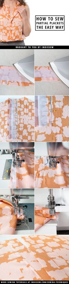 Learn the quick and easy way to sew partial plackets onto your woven garments! | Indiesew.com