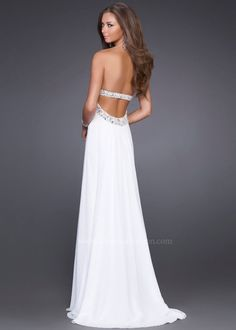 Strapless White Grecian Style Dress with an Open Back - Prom Dresses 2013 - La Femme 15027 - RissyRoos.com