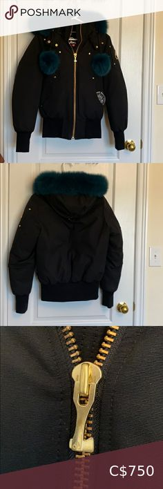 Moose Knuckle Bomber - NEVER WORN Brand new never worn out! I have the tags, but they are off the jacket. Slight oxidation on the main zipper (shown in pictures) ... from Storage. I tried it on... but didn't like the style on me and never got the chance to wear it out. Beautiful fur !! Rare colour Paid $850 + taxes From Markham (Toronto) ☺️ Moose Knuckles Jackets & Coats Bomber Jackets Gold Bomber Jacket, Bomber Jackets, Leather Jacket, Down Winter Coats, Adidas Neo, Lululemon Jacket, Satin Jackets, American Apparel, Moose