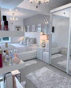 Grey Bedroom Decor, Bedroom Decor For Teen Girls, Room Design Bedroom, Stylish Bedroom, Small Room Bedroom, Home Bedroom, Bedroom Ideas, Beauty Room Decor, Cozy Room
