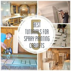 How to Spray Paint Cabinets White like the Professionals without having to tape off your entire kitchen. Spray Paint Cabinets, Best Cabinet Paint, Painting Kitchen Cabinets White, Spray Paint Furniture, Painting Oak Cabinets, Kitchen Paint, Kitchen Redo, Painted Furniture, Furniture Redo