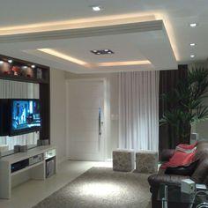 Sala de estar com teto baixo de Gesso de Sala de Estar de Lívia Gobetti - Viva Decora