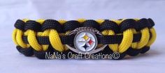 SALE Paracord Bracelet with Officially Licensed Pittsburgh Steelers Football Shaped Charm