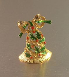 Christmas Bell Brooch Green Red Enamel Holly Berry Signed