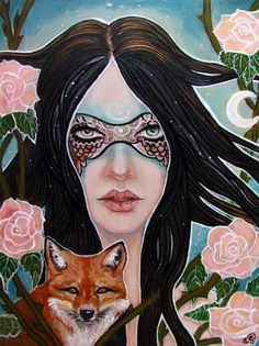 Fairy fox mask pagan eldritch 11x14 fine art by MoonSpiralart, $25.00