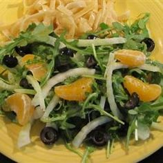 Arugula, Fennel, and Orange Salad Allrecipes.com I want to take out the olives and add balsamic to the dressing!
