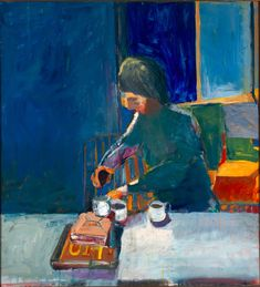 "Richard Diebenkorn, ""Girl with Cups"" (1957), oil on canvas, 59 x 54 in. (149.9 x 137.2 cm). Yale University Art Gallery, Gift of Richard Brown Baker, b.a. 1935, 1975.110.1. (image © The Richard Diebenkorn Foundation)"