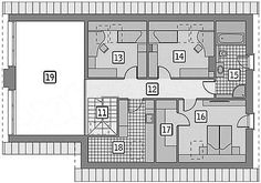 Rzut poddasza projektu Murator M210 Jasna przestrzeń Floor Plans, Floor Plan Drawing, House Floor Plans