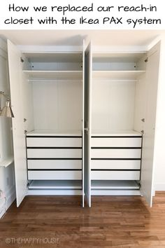 Do you want to make the most efficient use of space in a reach-in closet? I'm sharing how we replaced our reach-in closet with an Ikea Pax system as part of our most recent master bedroom makeover. Ikea Pax Doors, Ikea Closet Doors, Ikea Closet System, Ikea Closet Hack, Ikea Pax Wardrobe, Closet Hacks, Closet Ideas, Ikea Pax Hack, Wardrobe Closet