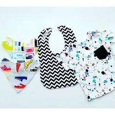 Monday boys fashion inspiration. Just a wer bit groovy don't you think?our bibs teamed up with @targetaus  splatter tee. All our bibs are $8each or 3 for $20 no matter what combo you pick!! #flatlay #instakids #shopmadeit #shop3280 #destinationwarrnambool #handmade #kahliastreasures #stylishbaby by kahliastreasures