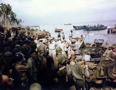 MacArthur Kenney Sutherland Mudge inspected Leyte beachhead Philippines 20 October 1944.