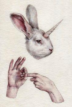 Absurd by Nikolay Tolmachov, via Behance - illustration Illustrations, Illustration Art, Art Sketches, Art Drawings, Mark Ryden, Audrey Kawasaki, Rabbit Art, Creepy Cute, Erotic Art