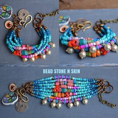 Colorful Bracelets n Anklets Mixed Multi Color Assorted Beads Bright Multicolor Stone Boho Rustic Gypsy Hippie Tribal Jewelry 6 8 7 10 9