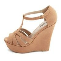 Just bought these for $8.99 <3  Pleather T-Strap Wedge Sandal: Charlotte Russe
