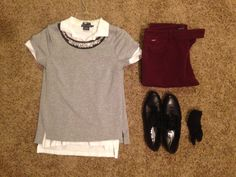 Fall Work: Banana Republic Grey Jeweled Tee, White House Black Market Plum Straight-legged Crop Pants, AGL Black Oxfords, Ralph Lauren Black Dress Socks, Ralph Lauren White Skinny Poli