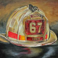 15 Fantastic Vacation Ideas For Painting Fire Helmet Small Canvas Paintings, Original Paintings, Fireman Quilt, Helmet Drawing, Fire Helmet, Canvas Art Projects, Fire Painting, Firefighters, Firemen