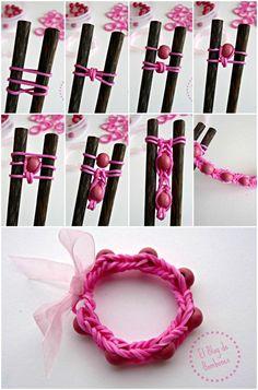 Paso a paso Pulsera de gomitas con cuentas Beaded loom bands bracelet, beaded rainbow loom, craft, loom band beads, beaded loom bands, gomitas pulseras, rainbow loom beads, de pulseras con gomitas, bead loom