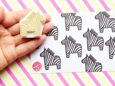 zebra rubber stamp. dala horse hand carved rubber by talktothesun