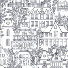 Maison line drawing fabric