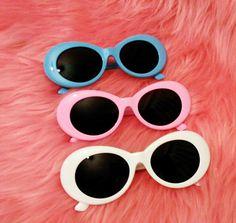 5fee9da1bf7 Pink White Blue Oval Mod Vintage Kurt Sunglasses by FREAKYGRRL