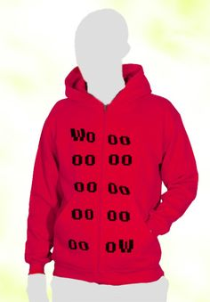 "Red hoodie, man blouse with "" wow "" sighn. Cool red hoodie from Tooba Posters etsy- toobaposters #hoodie #blouse #man #cool #nice #awesome #great #design #tooba #posters"