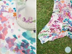 fabulous art paintbrush print tablecloths, perfect to brighten up your reception tables!  // photography www.jelphoto.co.nz styling www.allthefrills.co.nz #gardenparty #details #styling #party #flowers #pompoms #decorations