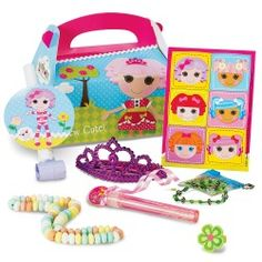 The Lalaloopsy party favor box contains stickers, a blow out toy, a pink bubble wand, a rubber flower ring, a tiara hair comb, a bead bracelet     activity, and a candy necklace.