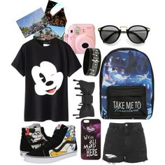 ❤️ by itsshannahhbearr on Polyvore featuring Topshop, Vans and Disney