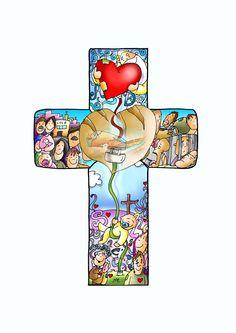 Sé que voy Contigo: Patxi V. FANO Jesus Cartoon, Jesus Photo, Christian Artwork, Cross Crafts, Sunday School Crafts, Kids Church, Bible Stories, Bible Art, Religious Art
