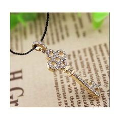 Jewelry diamond leather cord plum key key necklace Leather Cord Necklace