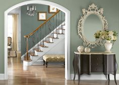 This is the project I created on Behr.com. I used these colors:,BITTER SAGE(N390-5),UNDERGROUND GARDENS(N420-4),