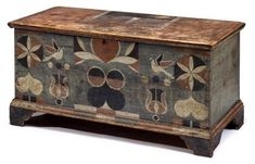 painted, decorated yellow pine blanket chest attributed to Johannes Spitler Massanutten, Page County, VA via: Freemans Auction Painted Trunk, Painted Chest, Painted Boxes, Hand Painted Furniture, Art Furniture, Vintage Furniture, Blanket Box, Blanket Chest, Antique Chest