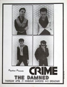 Crime: offset litho flyer featuring the Damned, for a show at The Mabuhay, San Francisco, April 1977