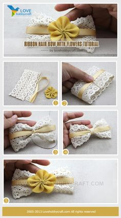 Ribbon hair bow with flowers tutorial