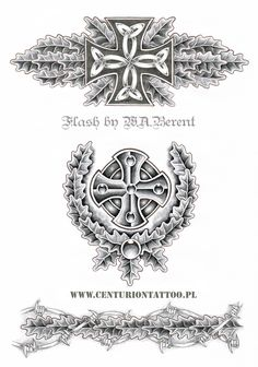 Celtic iron cross tattoo flash W.A. Berent Centuriontattoo