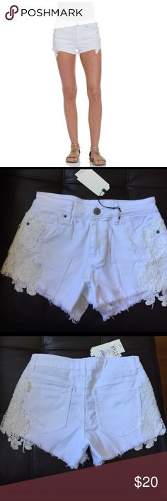 NWT Lace Crochet High Rise Denim Shorts White Brand new, with tags. Adorable high rise shortie. Crochet detail on the side. Juniors size 7. Vanilla Star Shorts Jean Shorts