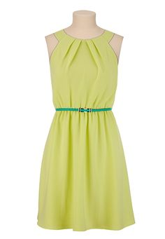 Belted Pleat Neck Textured Dress