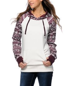 Crafted with trendy burgundy tribal print sleeves and hood, this snow fleece hoodie is a long and slim fit perfect for layering for some added warmth.