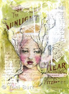 """""""Emma"""" mixed media artwork of a girl using vintage papers and sheet music, old script lettering, acrylic paint, sennelier oil sticks and pencil. portrait painting."""