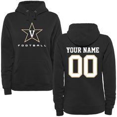 Vanderbilt Commodores Women's Personalized Football Pullover Hoodie - Black - $69.99