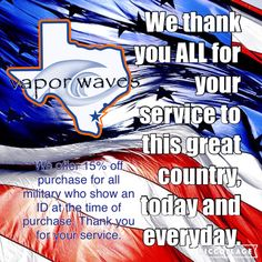 Happy Armed Forces Day!!! Vapor waves would like to give a huge thank you to all military men and women!!! Thank you for your service!!! Don't forget to show us your military ID for 15% off any purchase!!! #breatheinvapeout #armedforcesday