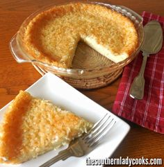 Old Fashioned Impossible Pie The Southern Lady Cooks Lemon Recipes, Tart Recipes, Sweets Recipes, Just Desserts, Delicious Desserts, Cooking Recipes, Coconut Desserts, Yummy Recipes, Yummy Food