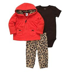 Carter's® Baby Girls' Red 3-pc. Animal Print Cardigan Set