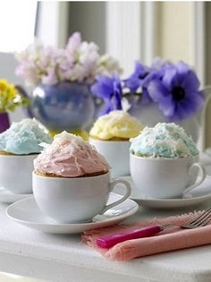 Teacup Cakes, What a great idea! from the Cupcake Club - favour ideas, guests get to eat a cupcake and keep a cup!
