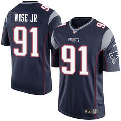 Youth Nike New England Patriots #91 Deatrich Wise Jr Limited Navy Blue Team Color NFL Jersey